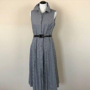 Tablots Gingham Collar Midi Belted Shirt Dress